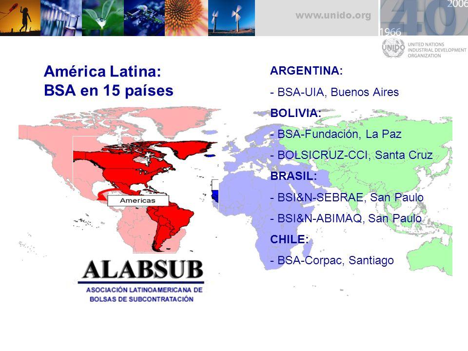 América Latina: BSA en 15 países ARGENTINA: - BSA-UIA, Buenos Aires
