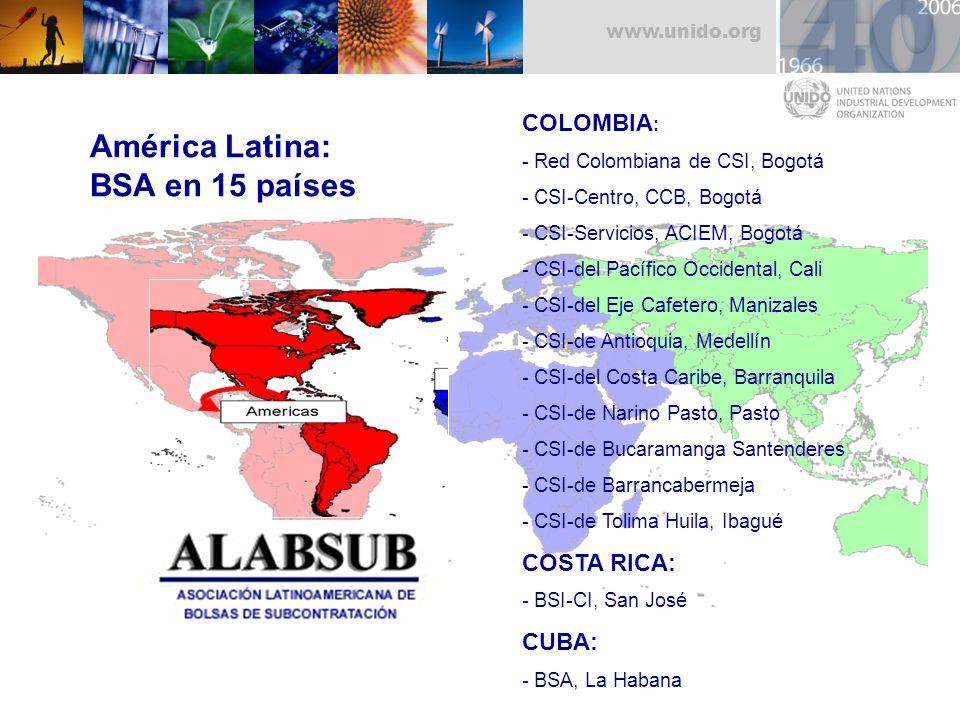 América Latina: BSA en 15 países COLOMBIA: COSTA RICA: CUBA: