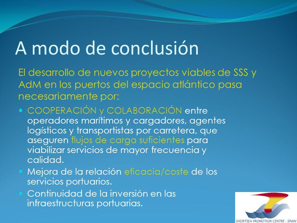 A modo de conclusión El desarrollo de nuevos proyectos viables de SSS y AdM en los puertos del espacio atlántico pasa necesariamente por: