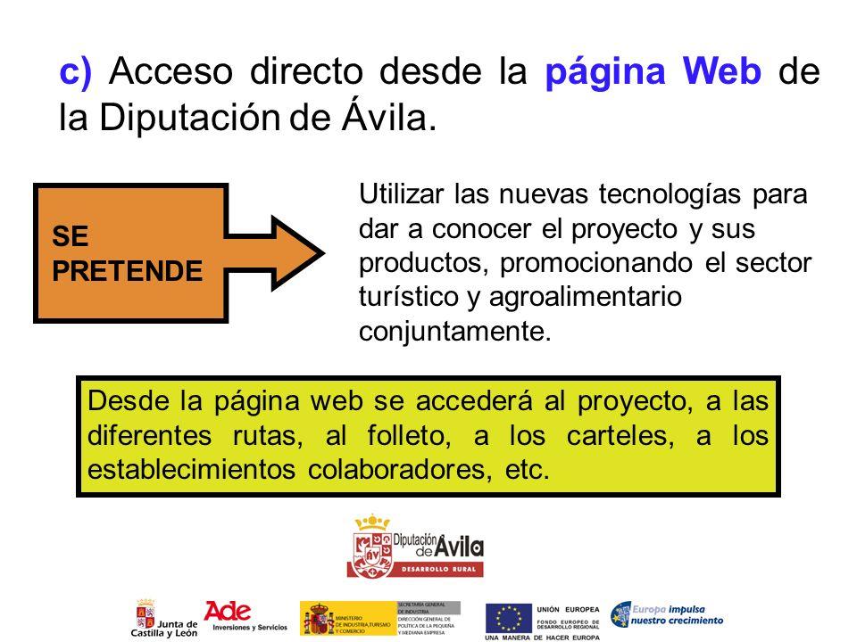 c) Acceso directo desde la página Web de la Diputación de Ávila.
