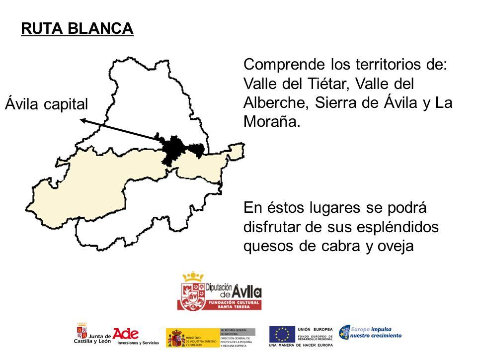 RUTA BLANCA Comprende los territorios de: Valle del Tiétar, Valle del Alberche, Sierra de Ávila y La Moraña.