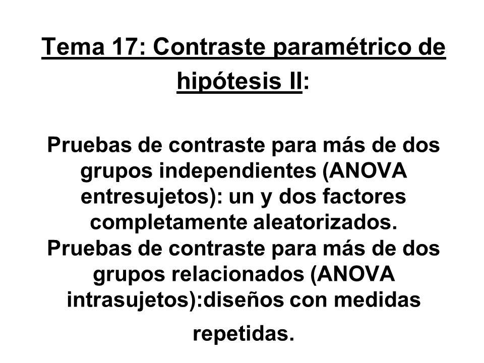 Tema 17: Contraste paramétrico de hipótesis II: Pruebas de contraste para más de dos grupos independientes (ANOVA entresujetos): un y dos factores completamente aleatorizados.