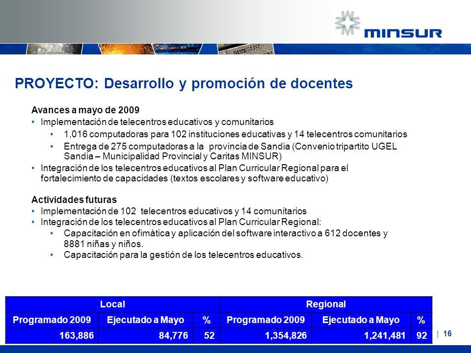 PROYECTO: Desarrollo y promoción de docentes