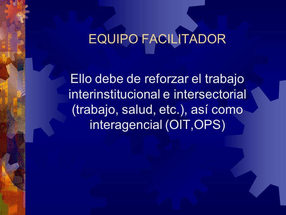 EQUIPO FACILITADOR Ello debe de reforzar el trabajo interinstitucional e intersectorial (trabajo, salud, etc.), así como interagencial (OIT,OPS)
