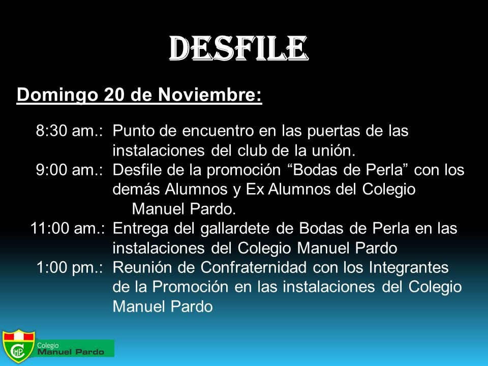 desfile Domingo 20 de Noviembre:
