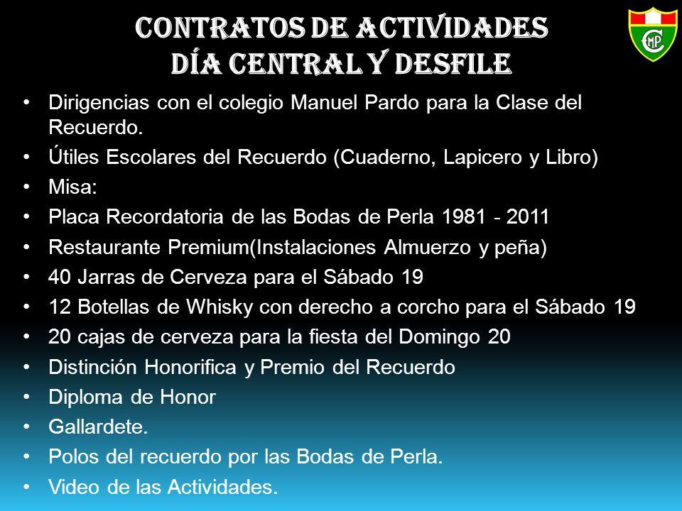 Contratos de actividades Día Central y Desfile