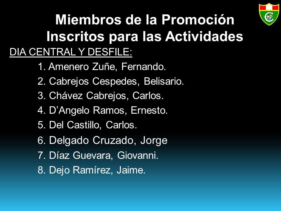 Miembros de la Promoción Inscritos para las Actividades