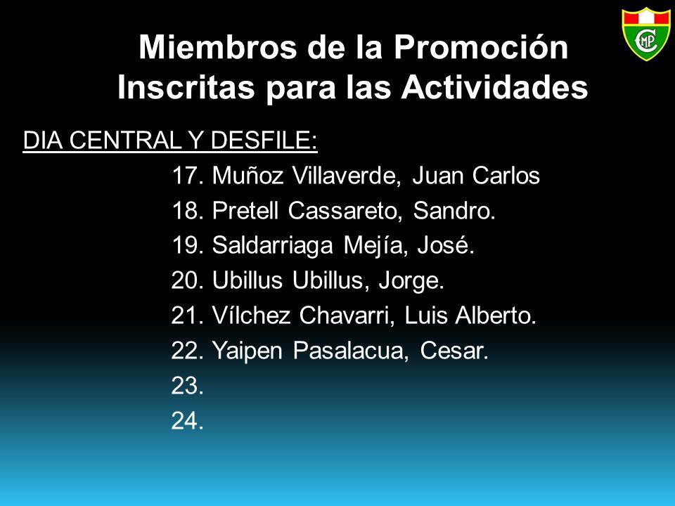 Miembros de la Promoción Inscritas para las Actividades