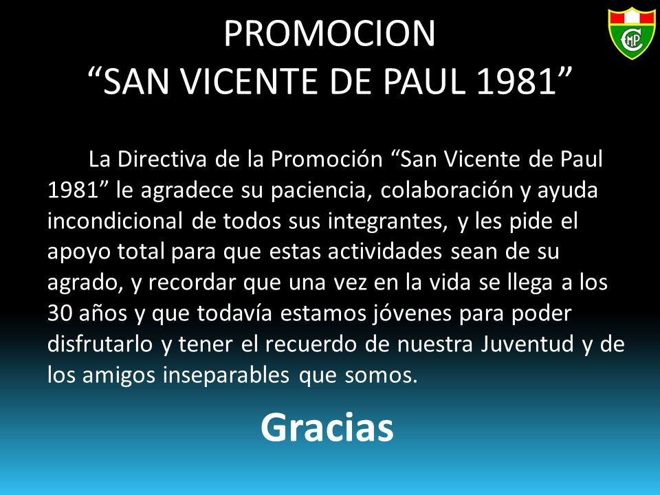 PROMOCION SAN VICENTE DE PAUL 1981