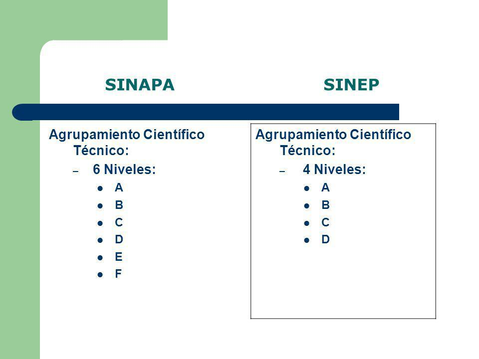 SINAPA SINEP Agrupamiento Científico Técnico: 4 Niveles: