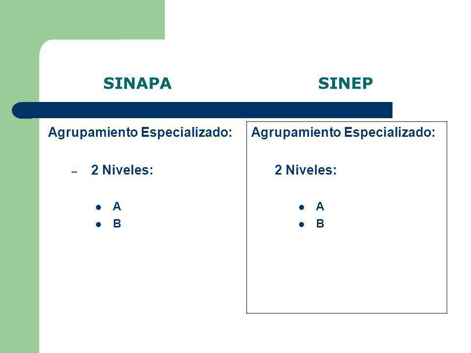 SINAPA SINEP Agrupamiento Especializado: 2 Niveles: