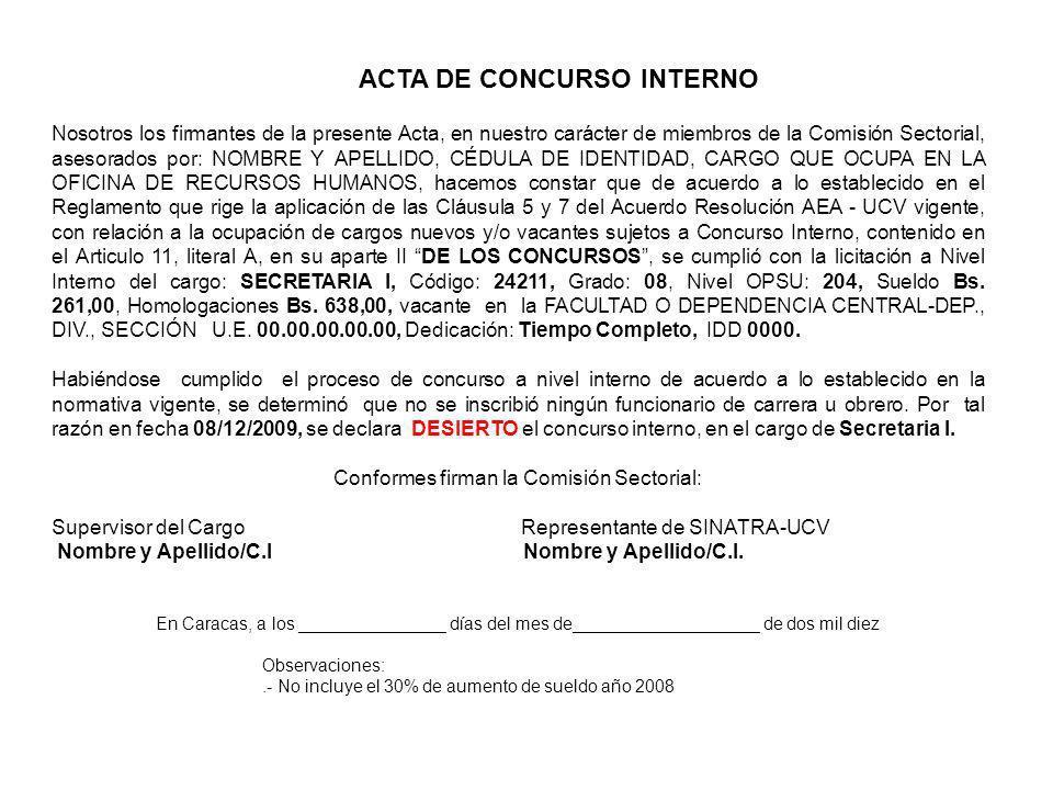 ACTA DE CONCURSO INTERNO