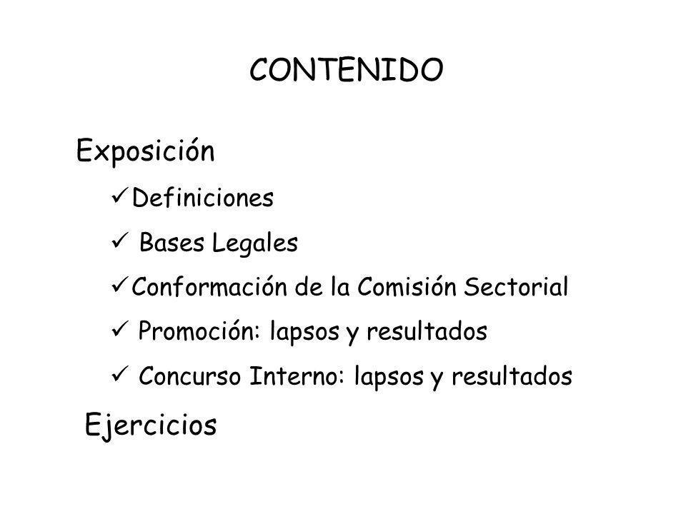 CONTENIDO Exposición Ejercicios Definiciones Bases Legales