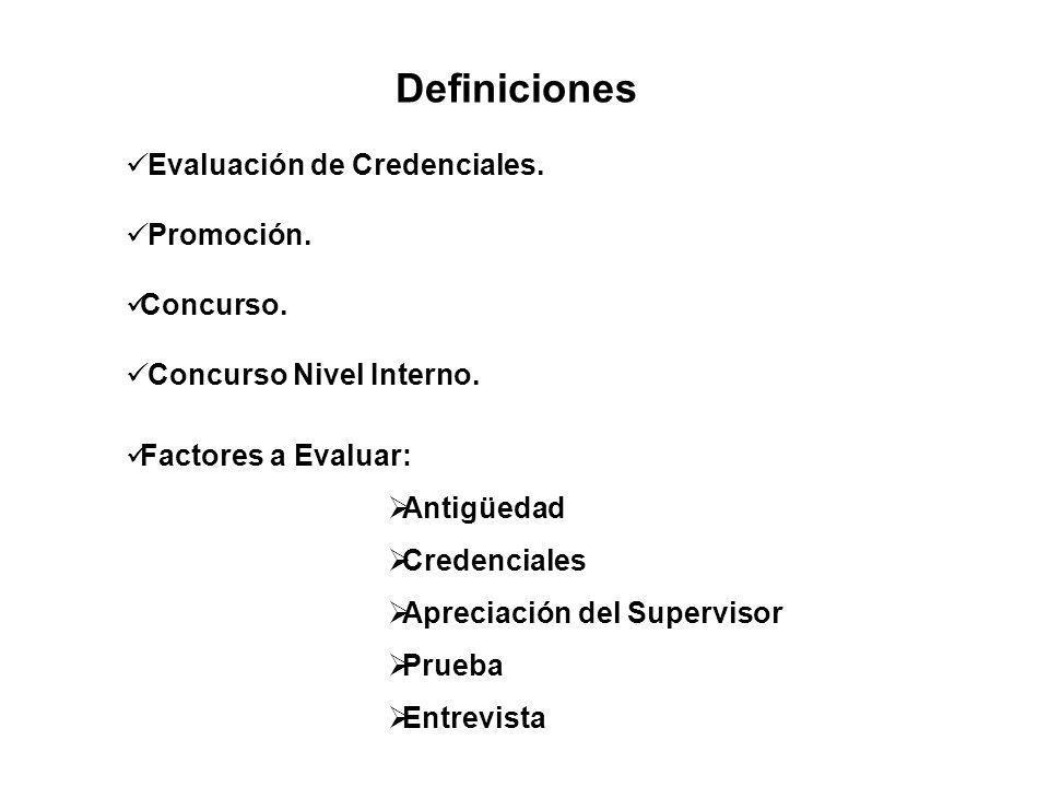 Definiciones Evaluación de Credenciales. Promoción. Concurso.