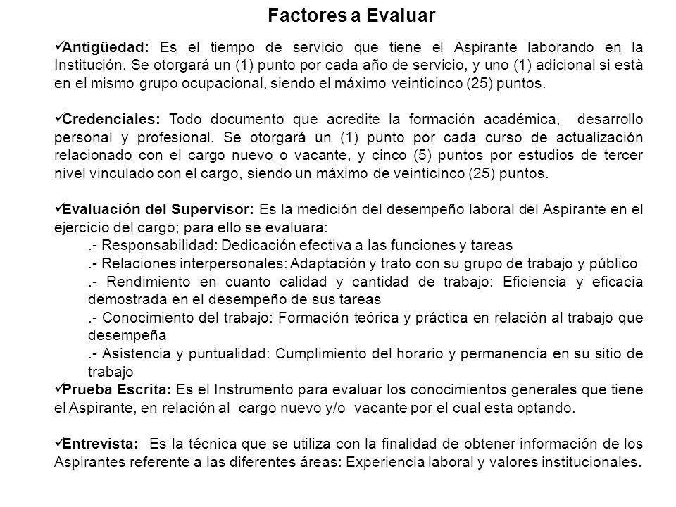 Factores a Evaluar