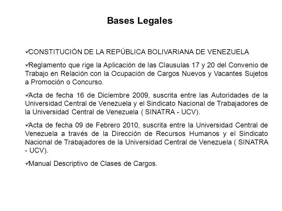 Bases Legales CONSTITUCIÓN DE LA REPÚBLICA BOLIVARIANA DE VENEZUELA