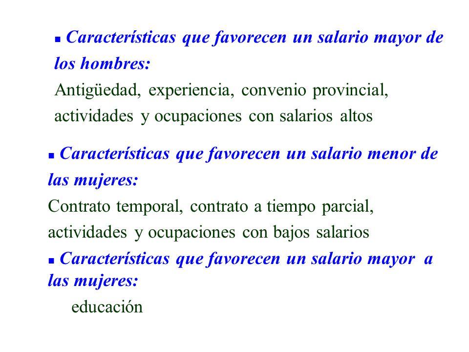 Características que favorecen un salario mayor de