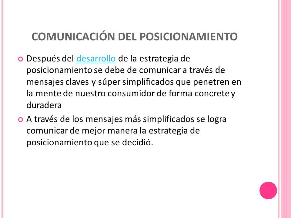 COMUNICACIÓN DEL POSICIONAMIENTO