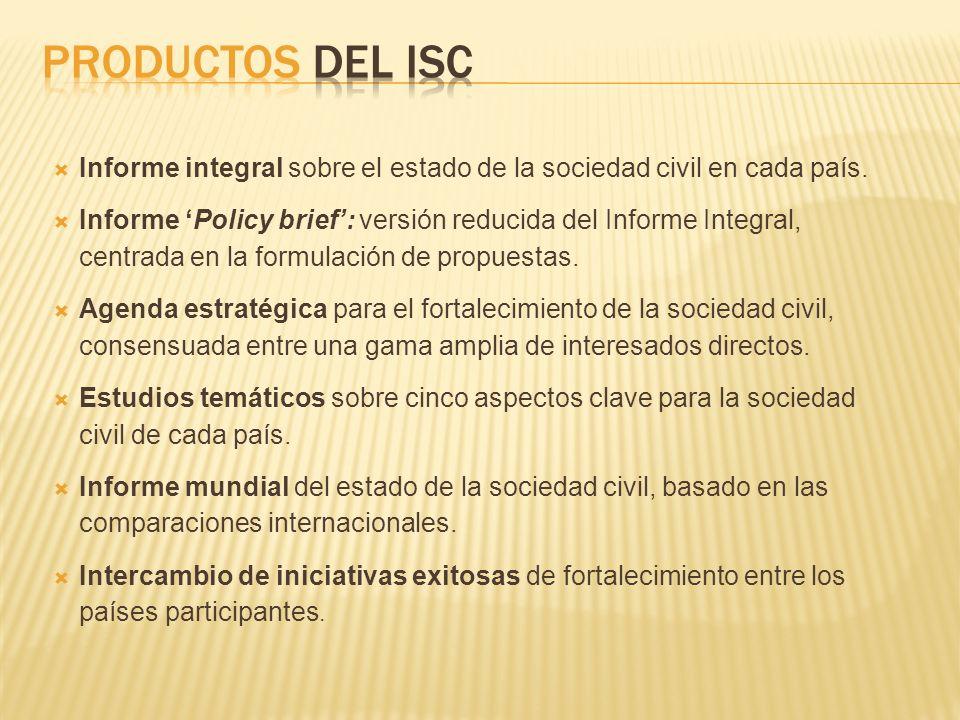 Productos Del ISC Informe integral sobre el estado de la sociedad civil en cada país.