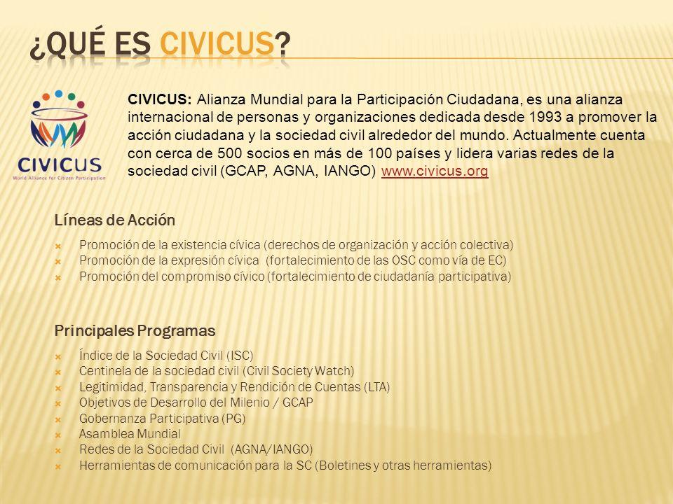 ¿Qué es Civicus Líneas de Acción Principales Programas