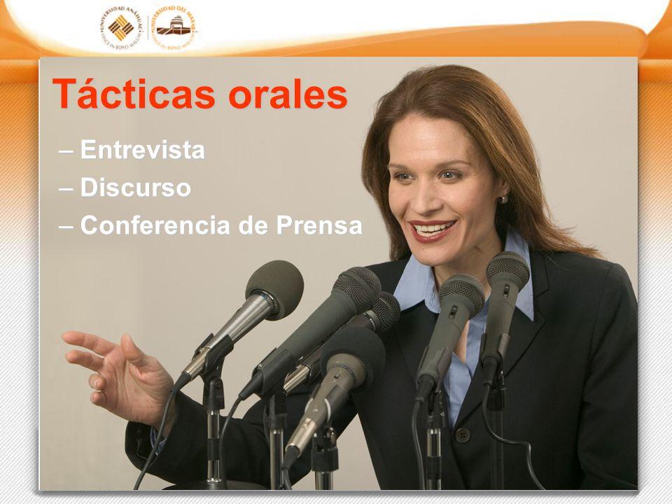 Tácticas orales Entrevista Discurso Conferencia de Prensa