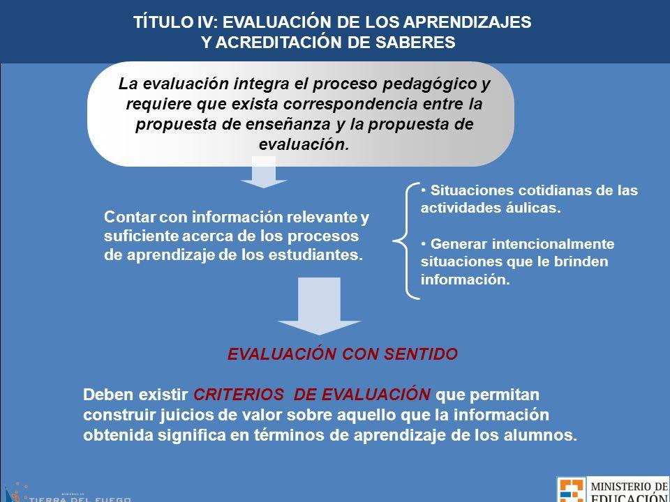 TÍTULO IV: EVALUACIÓN DE LOS APRENDIZAJES EVALUACIÓN CON SENTIDO