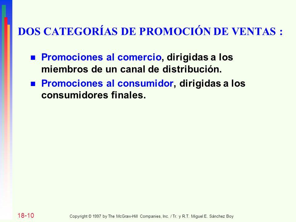DOS CATEGORÍAS DE PROMOCIÓN DE VENTAS :