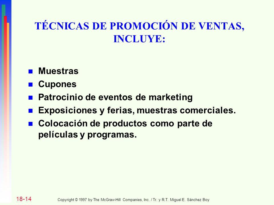 TÉCNICAS DE PROMOCIÓN DE VENTAS, INCLUYE:
