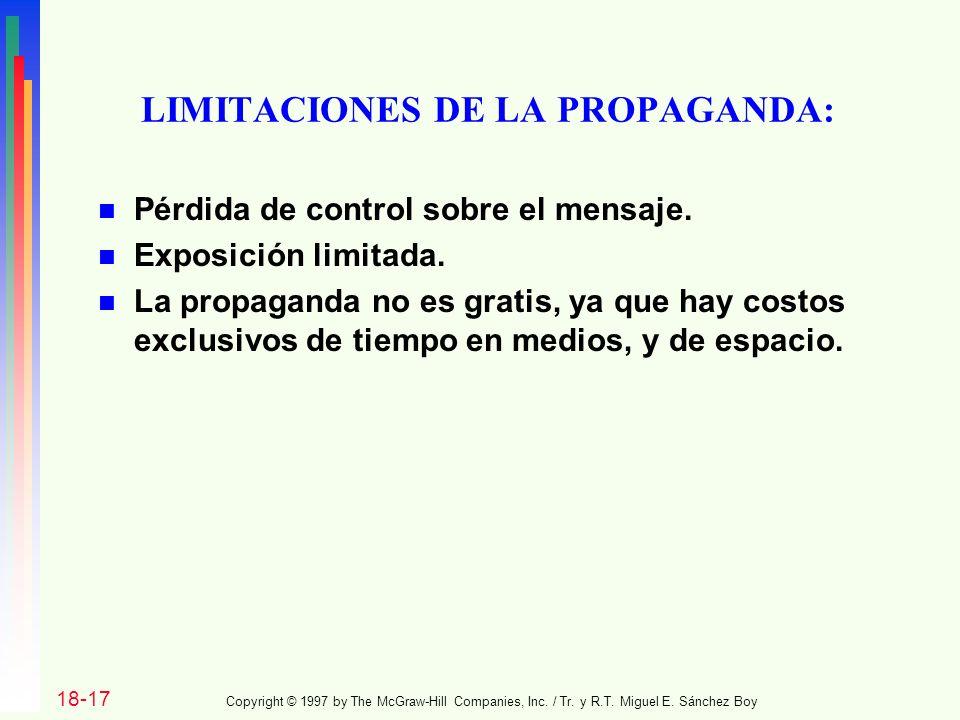 LIMITACIONES DE LA PROPAGANDA:
