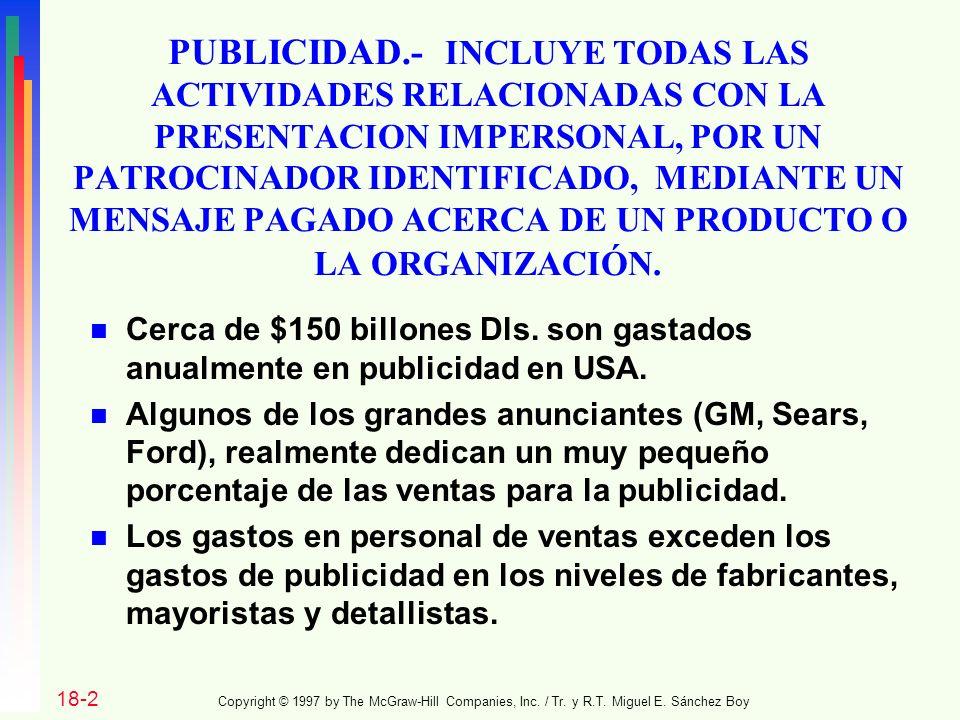 PUBLICIDAD.- INCLUYE TODAS LAS ACTIVIDADES RELACIONADAS CON LA PRESENTACION IMPERSONAL, POR UN PATROCINADOR IDENTIFICADO, MEDIANTE UN MENSAJE PAGADO ACERCA DE UN PRODUCTO O LA ORGANIZACIÓN.