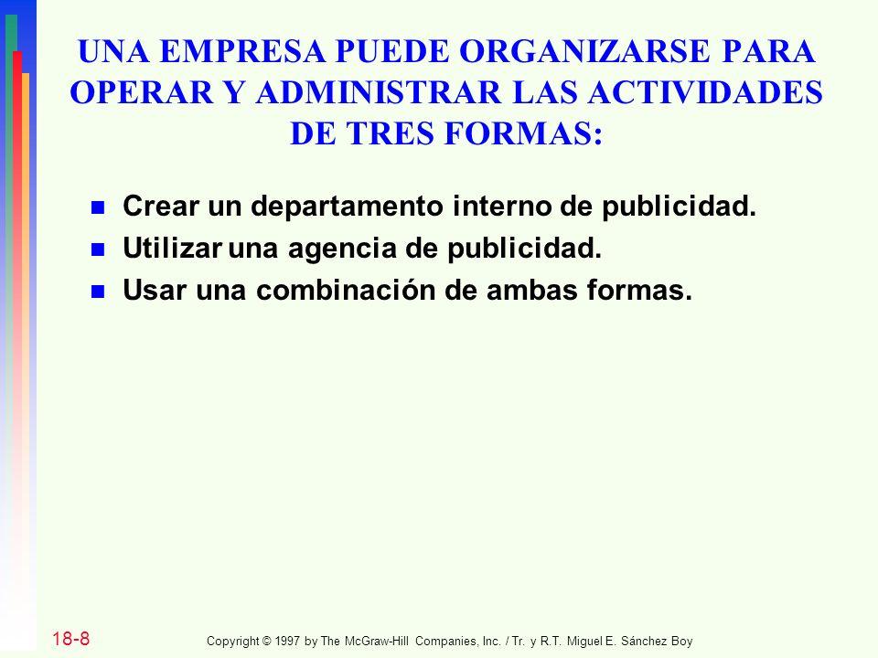 UNA EMPRESA PUEDE ORGANIZARSE PARA OPERAR Y ADMINISTRAR LAS ACTIVIDADES DE TRES FORMAS: