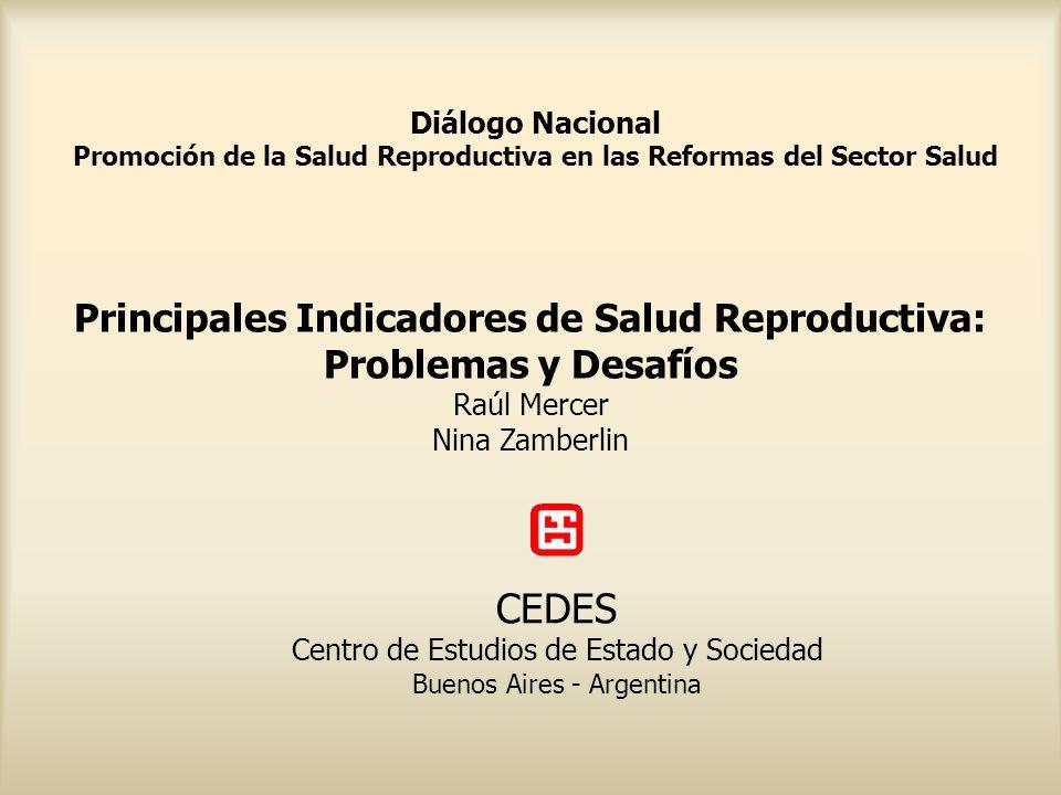 Principales Indicadores de Salud Reproductiva: Problemas y Desafíos