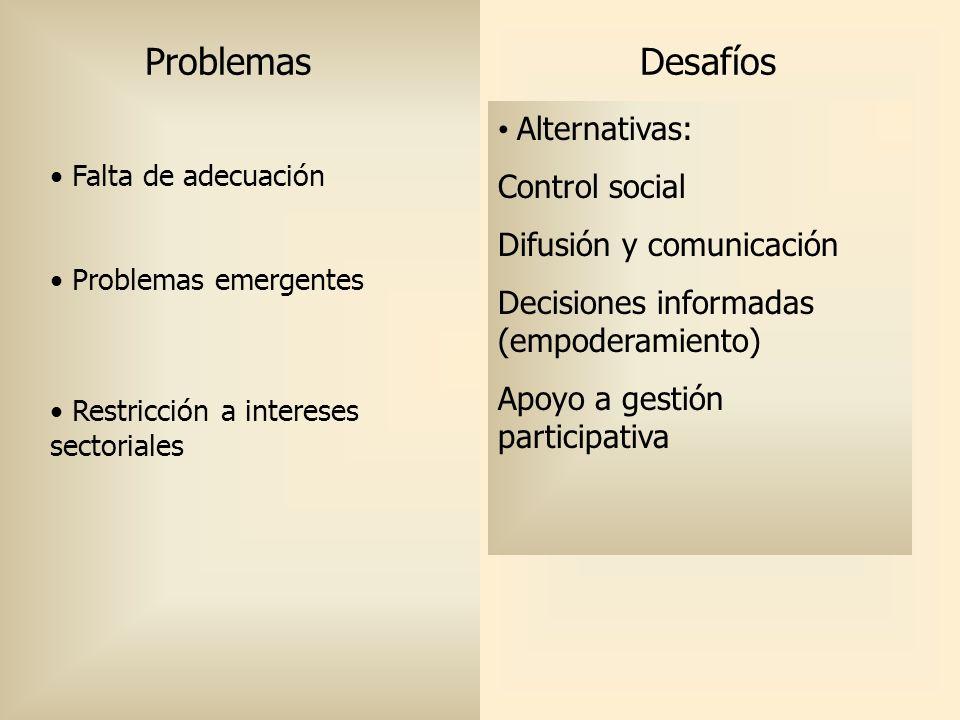 Problemas Desafíos Nueva morbilidad Otras dimensiones (SM, violencia)