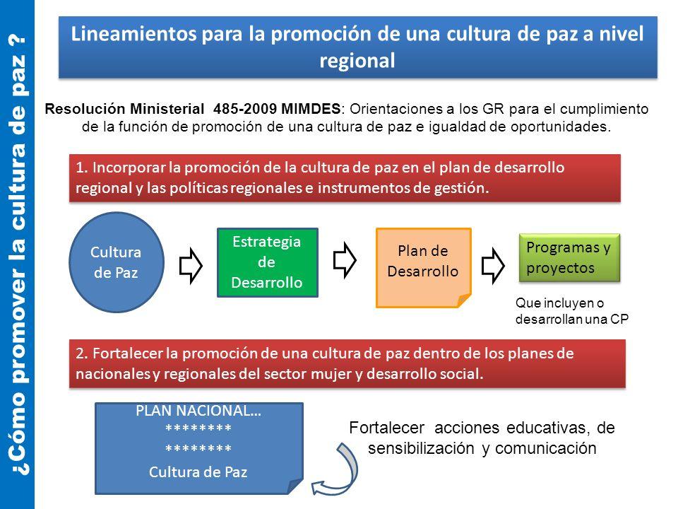Lineamientos para la promoción de una cultura de paz a nivel regional