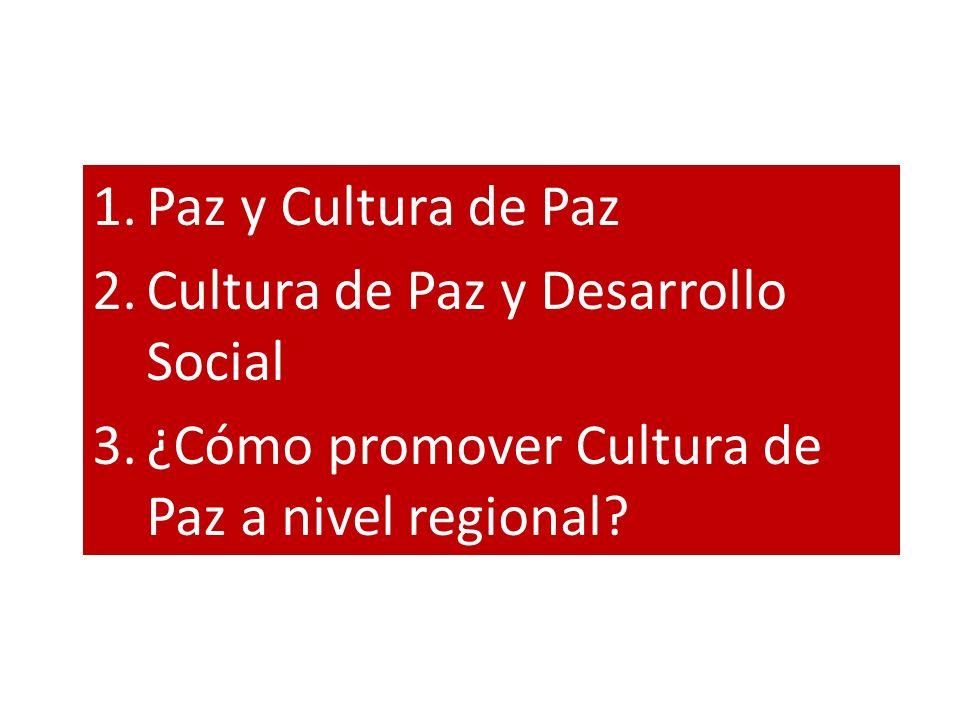 Paz y Cultura de Paz Cultura de Paz y Desarrollo Social.