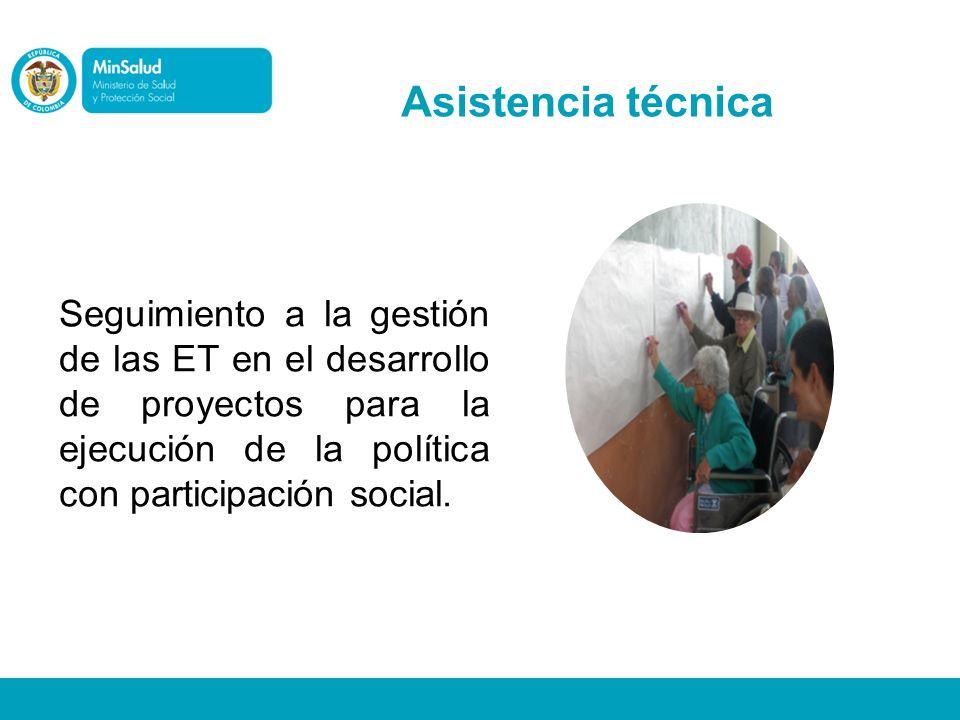 Asistencia técnica Seguimiento a la gestión de las ET en el desarrollo de proyectos para la ejecución de la política con participación social.
