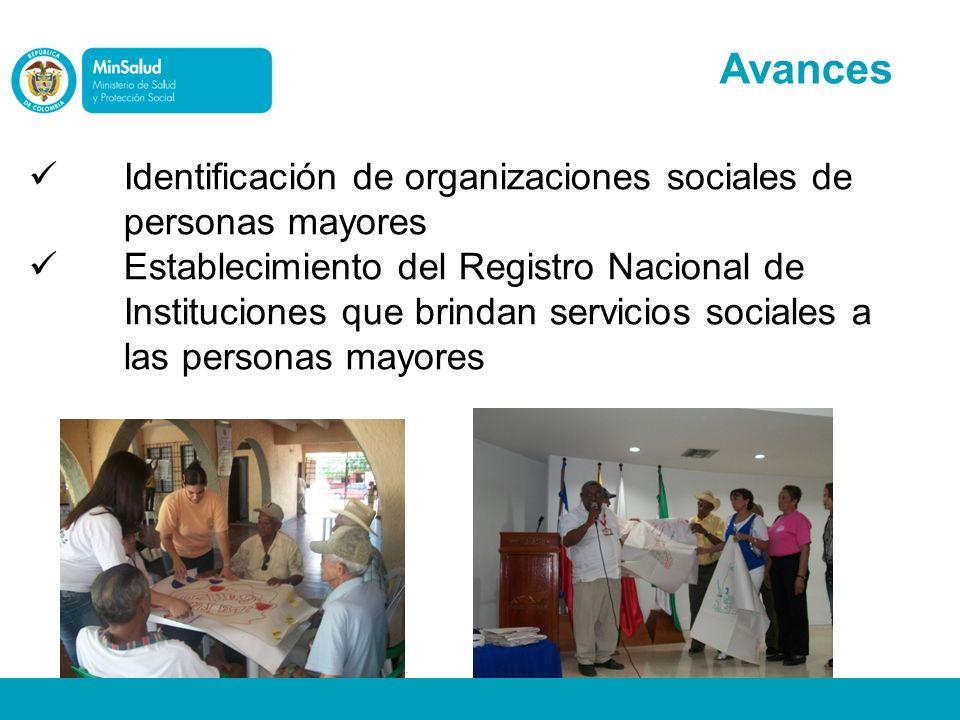 Avances Identificación de organizaciones sociales de personas mayores