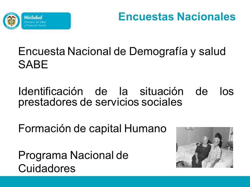 Encuestas Nacionales Encuesta Nacional de Demografía y salud. SABE. Identificación de la situación de los prestadores de servicios sociales.