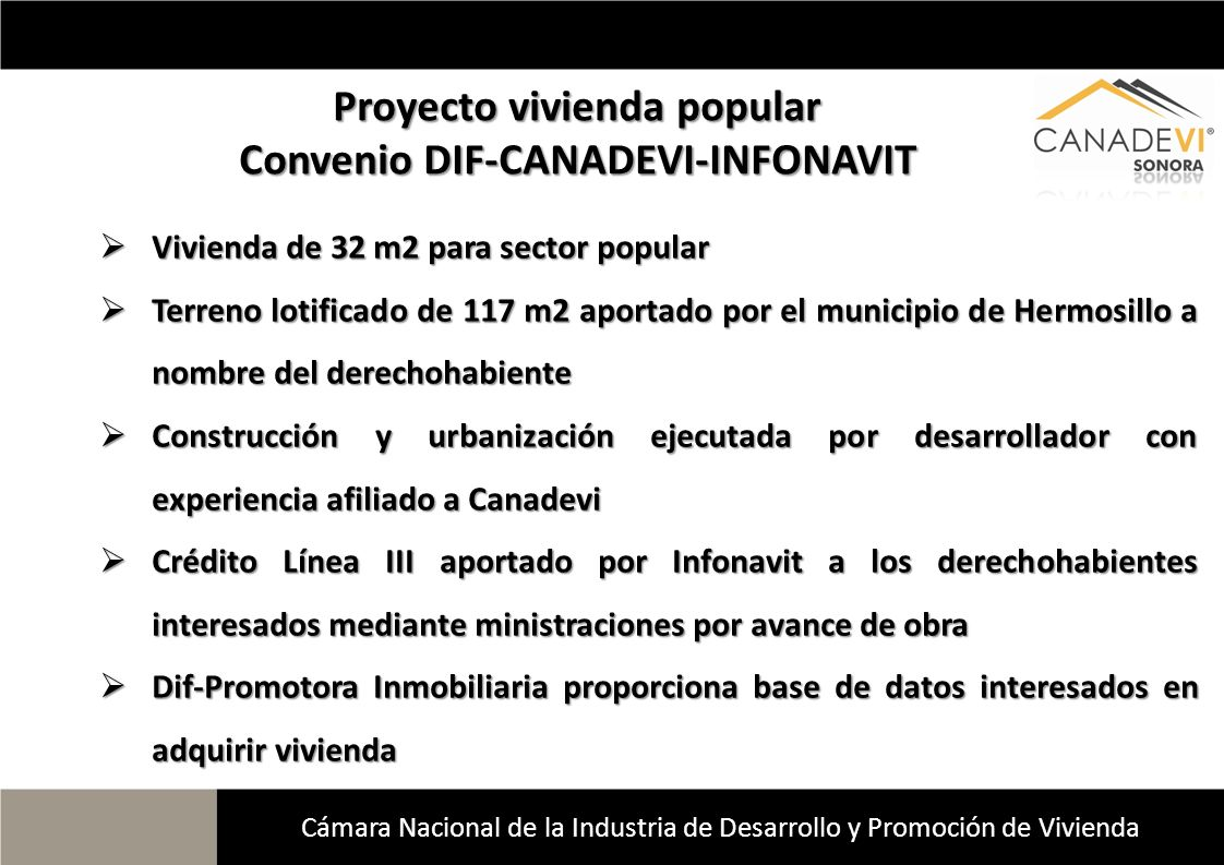Proyecto vivienda popular Convenio DIF-CANADEVI-INFONAVIT
