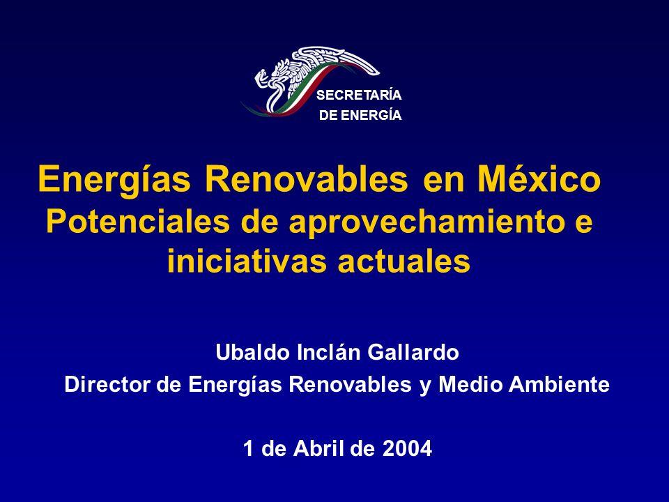SECRETARÍA DE ENERGÍA. Energías Renovables en México Potenciales de aprovechamiento e iniciativas actuales.