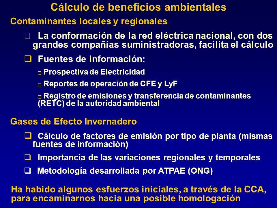 Cálculo de beneficios ambientales