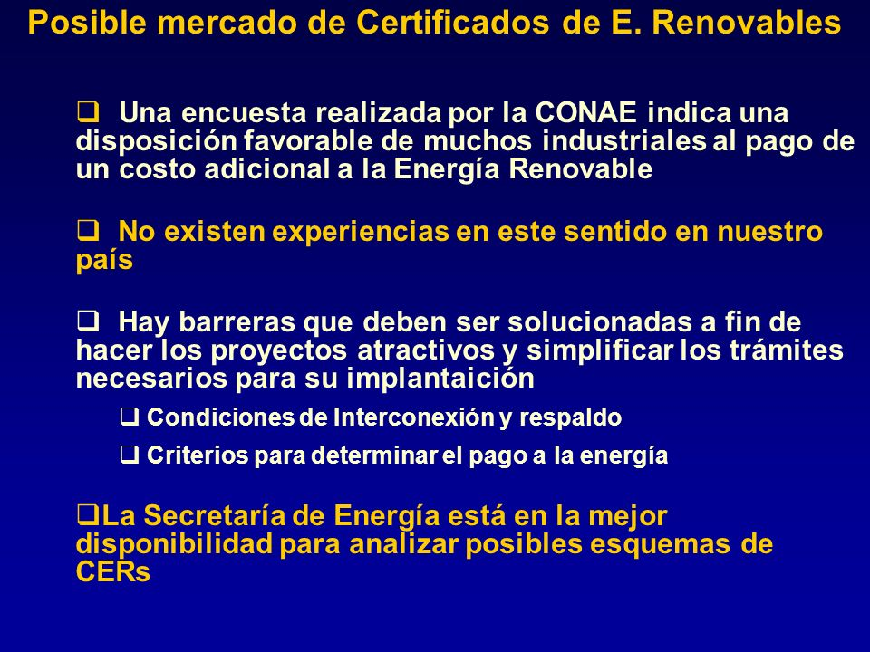 Posible mercado de Certificados de E. Renovables