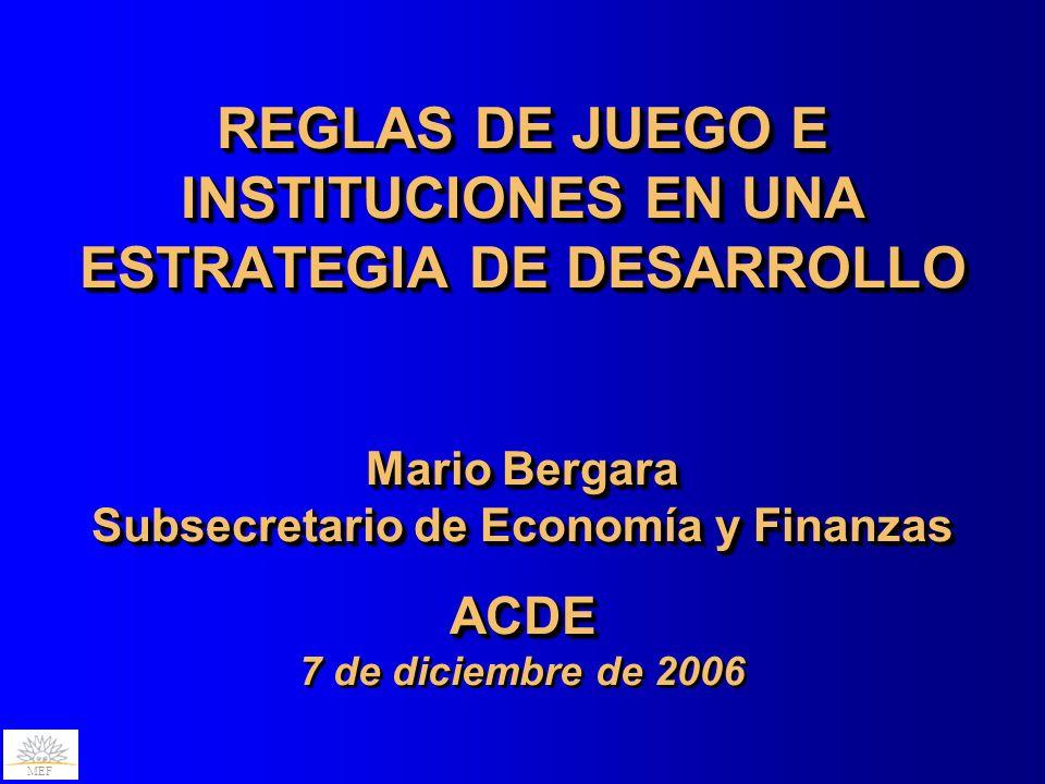 REGLAS DE JUEGO E INSTITUCIONES EN UNA ESTRATEGIA DE DESARROLLO Mario Bergara Subsecretario de Economía y Finanzas ACDE 7 de diciembre de 2006
