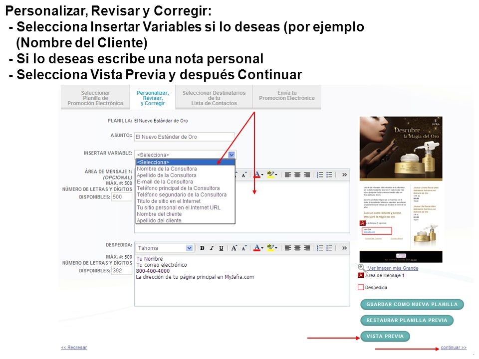 Personalizar, Revisar y Corregir: - Selecciona Insertar Variables si lo deseas (por ejemplo (Nombre del Cliente)