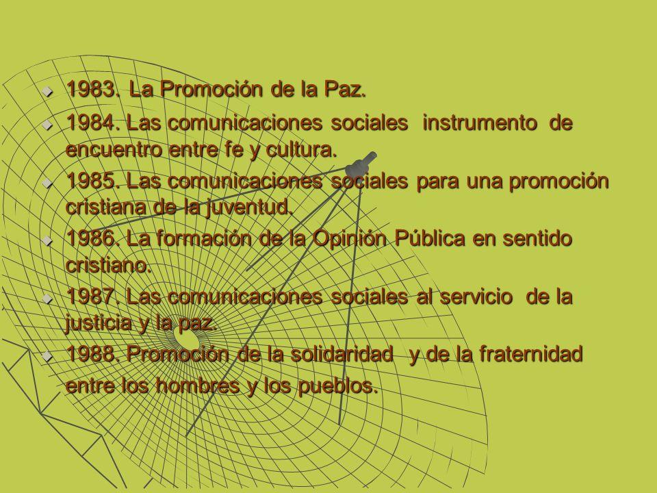 1983. La Promoción de la Paz. 1984. Las comunicaciones sociales instrumento de encuentro entre fe y cultura.
