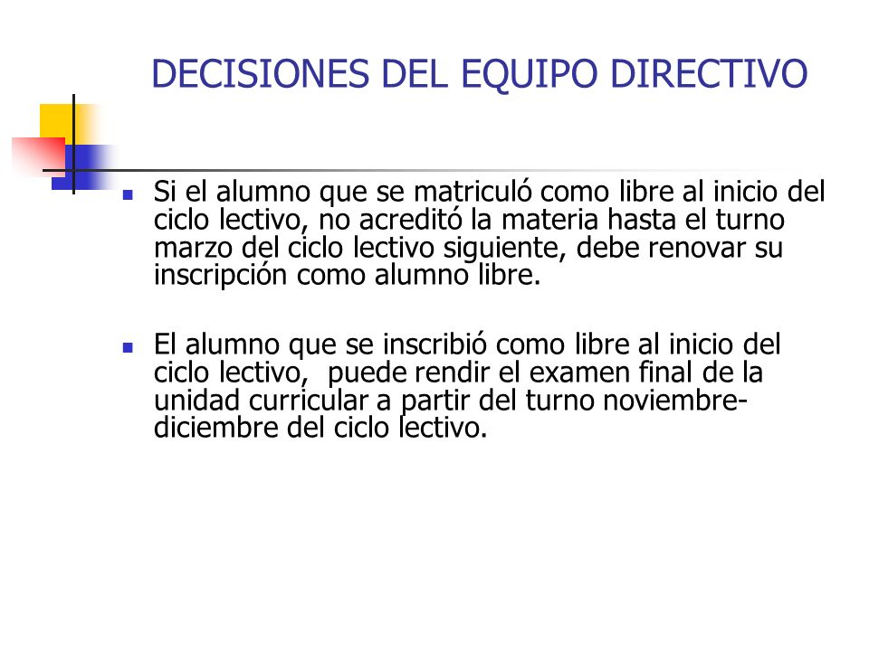 DECISIONES DEL EQUIPO DIRECTIVO