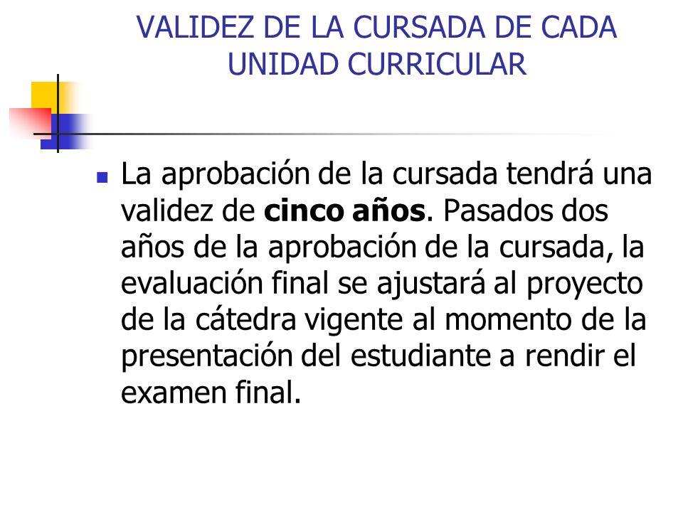 VALIDEZ DE LA CURSADA DE CADA UNIDAD CURRICULAR