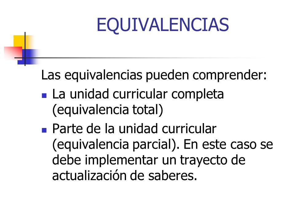 EQUIVALENCIAS Las equivalencias pueden comprender: