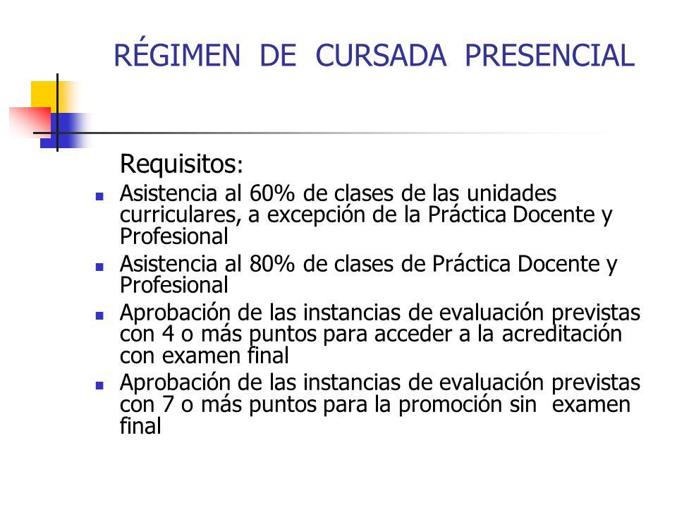 RÉGIMEN DE CURSADA PRESENCIAL