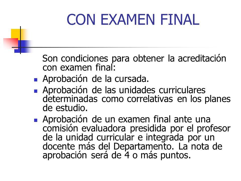 CON EXAMEN FINAL Son condiciones para obtener la acreditación con examen final: Aprobación de la cursada.
